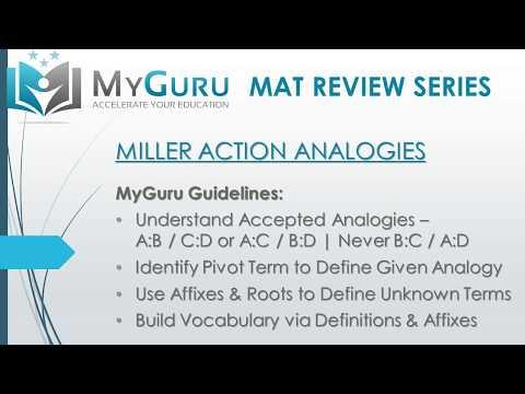 MyGuru Tutoring - Miller Analogies Test (MAT) Action Analogy ...