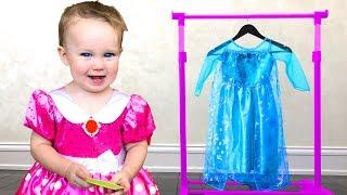 NEW DRESS as Princess ELSA & Kids play in Shopping