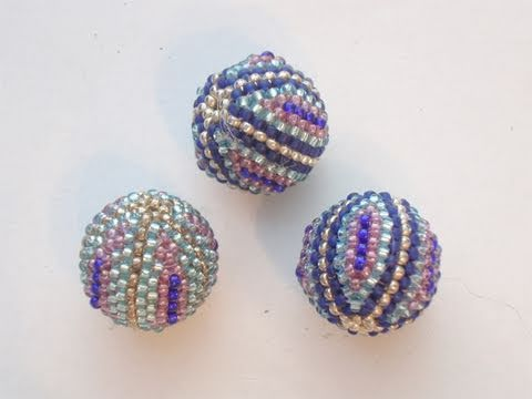 BeadsFriends: Beaded bead tutorial - How to cover a wooden bead with Peyote Stitch 1/2