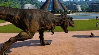 Rexy, Blue & Indominus Rex Camouflage Breakout & Fight! Jurassic World Evolution (1080p 60FPS)