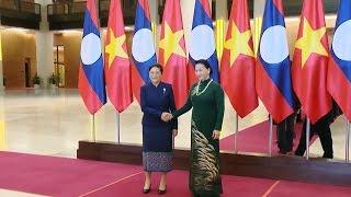 Chủ tịch Quốc hội Nguyễn Thị Kim Ngân đón, hội đàm với Chủ tịch Quốc hội Lào Pany Yathotou