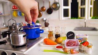 Miniature Cooking Beef Coffee Stew | Mini Real Food in Mini Kitchen Set | ASMR Cooking