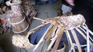 Плетение лаптей из рогоза