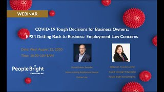 COVID-19 TDBO: EP24 Getting Back to Business - Employment Law Concerns Webinar Recording