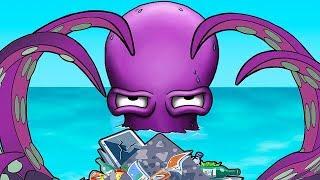 Осьминог ГЛАЗАСТИК чистит океан от мусора Мультик ИГРА Tasty Blue Forever