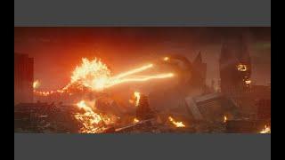 Burning godzilla fights Ghidorah