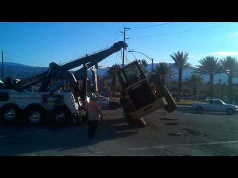 Flipping a 950 loader in the middle of the street