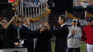 Red Sox presented World Series trophy