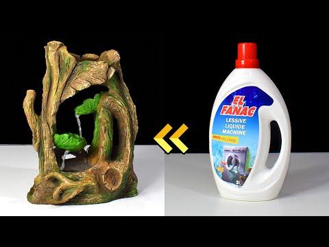 DIY Cement Tabletop Fountain using Detergent Bottle   Upcycling Plastic Bottle   Desktop Fountain