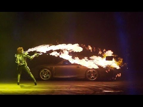 INFERNO | Porsche 911 vs Flame Throwers | Top Gear Live 2014 Glasgow