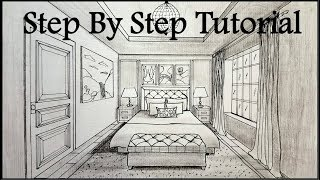 How To Draw A Bedroom In One Point Perspective | Step By Step