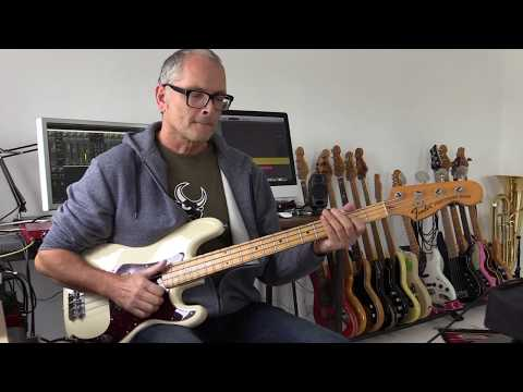 Slap bass fill using the E Dorian minor scale, how to play