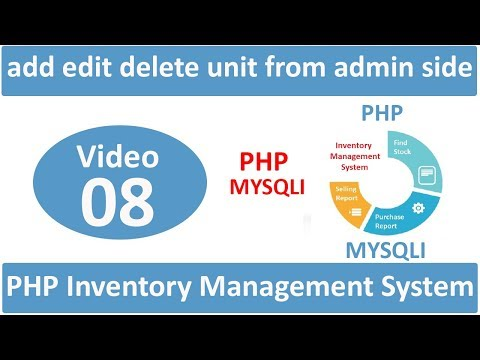 add edit delete unit from admin side in php ims