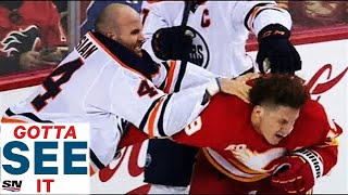 GOTTA SEE IT: Every Big Hit, Fight & Crazy Goal From Wild Battle Of Alberta + Post Game Comments