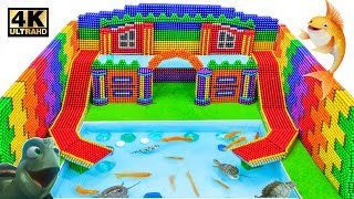 DIY - Build Water Slide Park Into Swimming Pool From Magnetic Balls (Satisfying ASMR)   MW Series