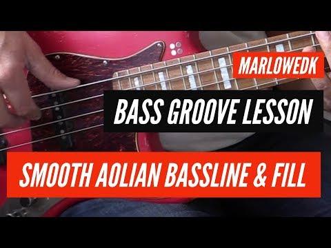C minor Aolian mode bassline with legato fill tutorial