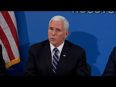 """Vice President Mike Pence says the United States is encouraged with the efforts that Mexico is making with the migration issue on the southern border, he said: """"Mexico's stepping up."""" (April 5)"""