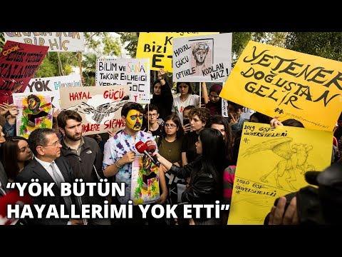 Öğrencilerden YÖK'e 14 bölümde özel yetenek sınavının kaldırılmasını protesto etti