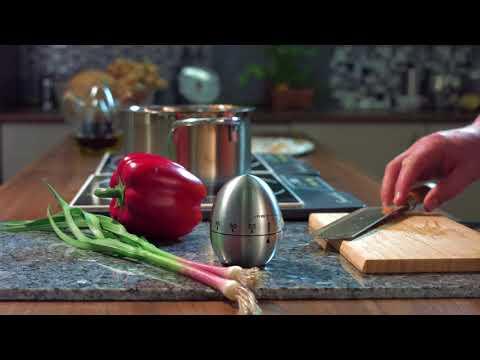 PEARL Kurzzeitmesser, Eieruhr aus Edelstahl, 60-Minuten-Timer und Signalton