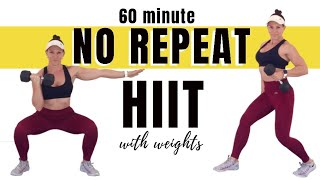 FOLLOW ALONG NO REPEAT WORKOUT WITH WEIGHTS - 60 Minute Full Body Circuit