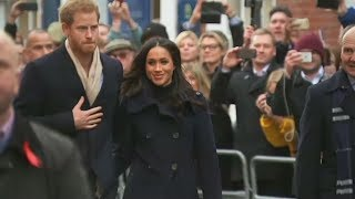 Meghan Markle and Prince Harry greet fans in first engagement as royal couple