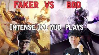 Faker vs Cj Bdd - Intense 1v1 mid plays
