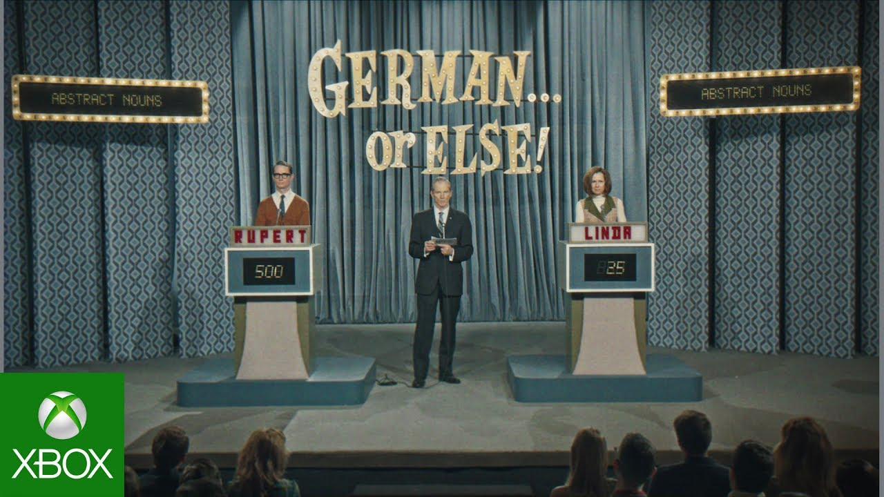 German or else game show with two players and a host