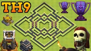Clash Of Clans | BEST TH9 HYBRID BASE WITH BOMB TOWER! | Town Hall 9 Farming / Trophy Base
