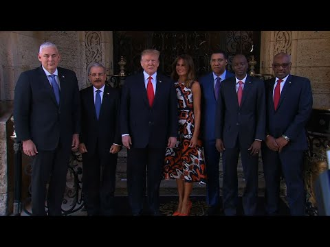 Venezuela tops the agenda of President Donald Trump's meeting with leaders from the Caribbean. Trump invited several leaders to his Mar-a-Lago club to show his support for Caribbean countries that backed a democratic transition in Venezuela. (March 22)