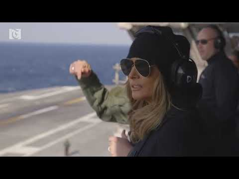 First Lady Melania Trump visits U.S.S. George H.W. Bush and military bases