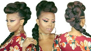 😍FAUX BRAIDED MOHAWK | BRAIDED FAUX HAWK | HOW TO NO CORNROWS 4C NATURAL HAIRSTYLES | TastePINK