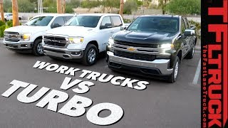 Work Truck Wars: 2019 Chevy Silverado 4-Cylinder Turbo vs Ford F150 vs Ram 1500 Review