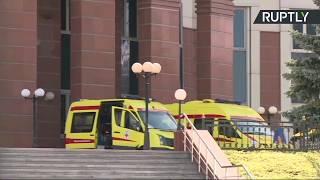 Трансляция от здания Мособлсуда, где произошла перестрелка на процессе по делу «банды ГТА»