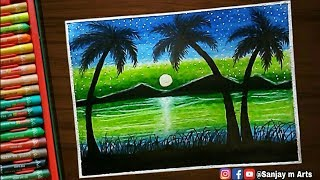 How To Draw Moon Night Scenery With Oil Pastels ฟร ว ด โอออนไลน