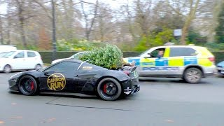 Cruising with CHRISTMAS TREE on a FERRARI, in front of the POLICE!