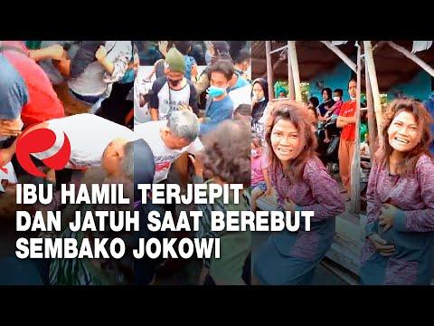 Ibu Hamil Terjepit dan Jatuh Saat Berebut Sembako Jokowi