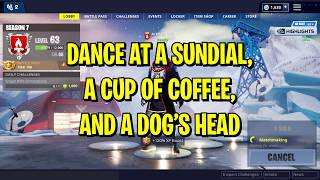 Dance at a Sundial, Oversized Coffee, and Dog's Head Locations FORTNITE Season 7 Week 9 Challenges