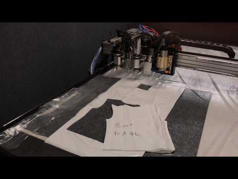 Планшетный режущий плоттер. Резка ткани тангенциальным дисковым ножом.