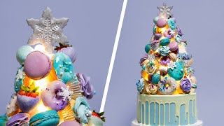 LIGHT UP Christmas Tree CAKE!   Holiday Baking Dessert Ideas   How To Cake It Step By Step
