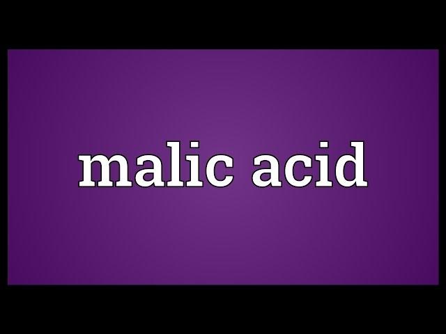Malic Acid Meaning