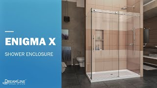 Watch DreamLine Enigma-X Frameless Shower Enclosure in Polished Steel | Sliding Opening