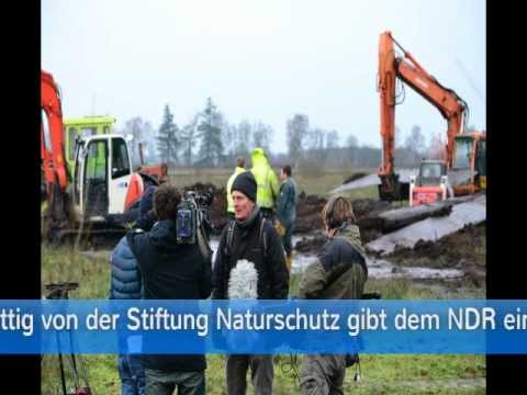 Bagger im Königsmoor bei Christiansholm versenkt - Bergungsarbeiten am 20.12. 2012