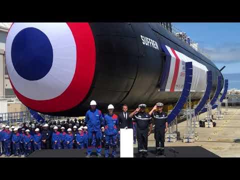 Macron představil francouzskou útočnou jadernou ponorku Suffren třídy Barracuda