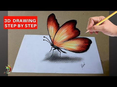 drawing 3d butterfly step by step tutorials