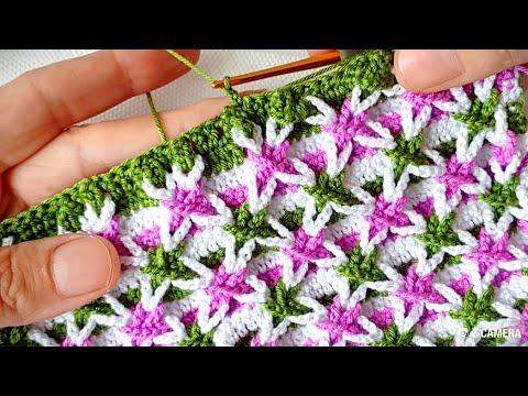 Yapılışı çok kolay görünüşü farklı Yıldız örgü modeli crochet knitting