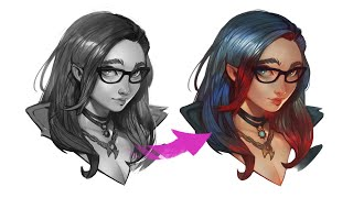 GREYSCALE To COLOR - Digital Painting Tutorial