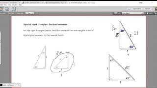 Special Right Triangles - Decimal Answers