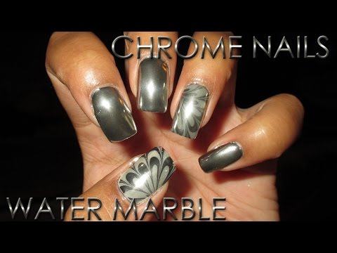 Chrome Nails with Chrome Water Marble Accent   DIY Nail Art Tutorial