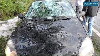wetteronline.de: Hagel zerbeult Auto (16.10.2015)