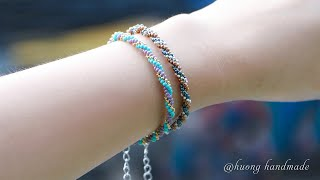 Triple Spiral Bracelet. Simple And Easy To Make For Beginner. Beaded Jewelry